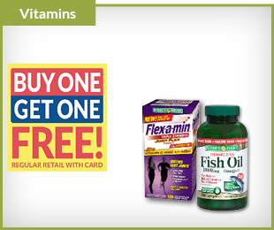 Nature's Bounty & Flex-a-min Buy One, Get One FREE on regular retail with card
