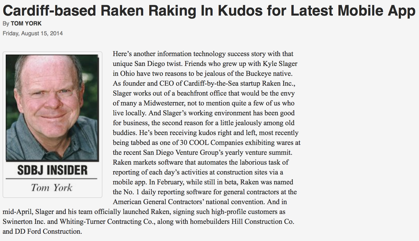 Raken Mentioned in San Diego Business Journal