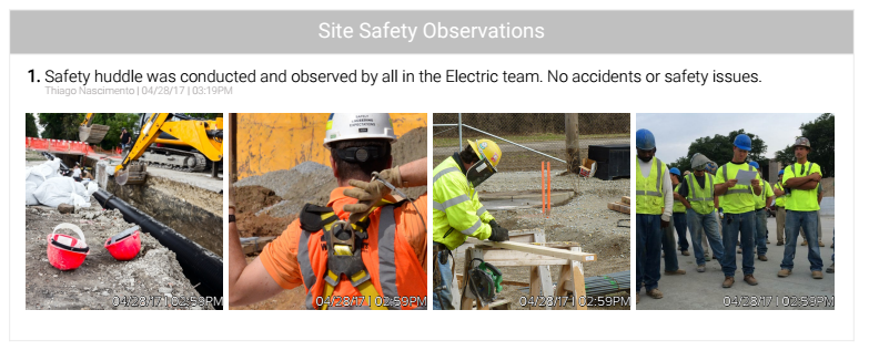 Site Safety Observations
