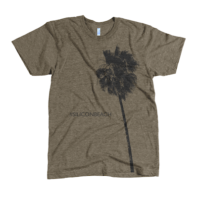 Zing Fizz Silicon Beach Palms Tshirt Brown