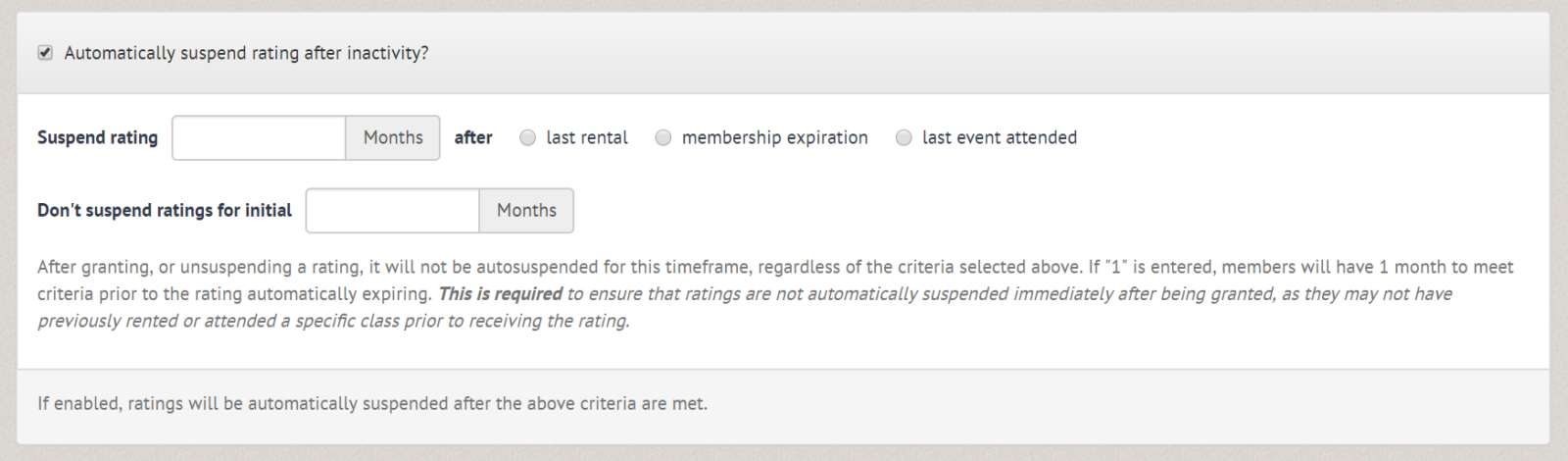 Auto suspend rating