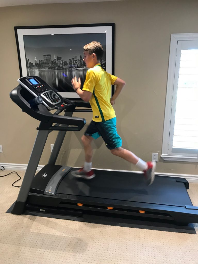 Never to young to hit the treadmill. Working on speed to run faster in soccer
