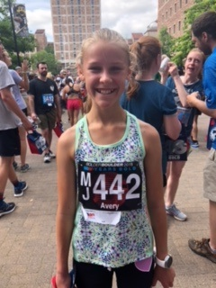 1st for age group - 12 year old - starting with running a mile to a half marathon. One tough girl!