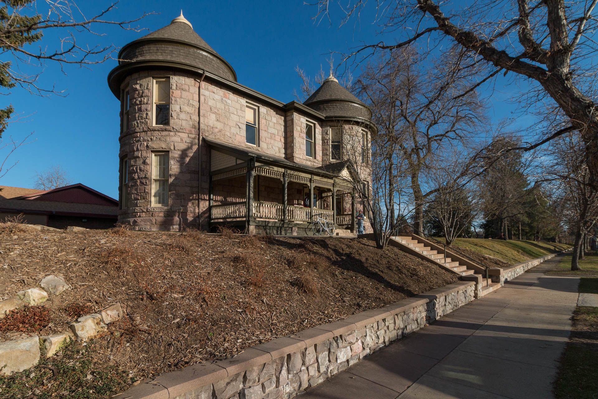 The Fleming Mansion still sits proudly at its original location and is a designated Historic Landmark.