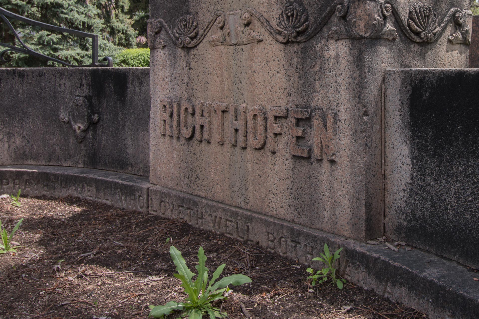 Historical marker in Montclair for Richthofen: Richthofen's wife's grave is located by this marker in the Montclair neighborhood.