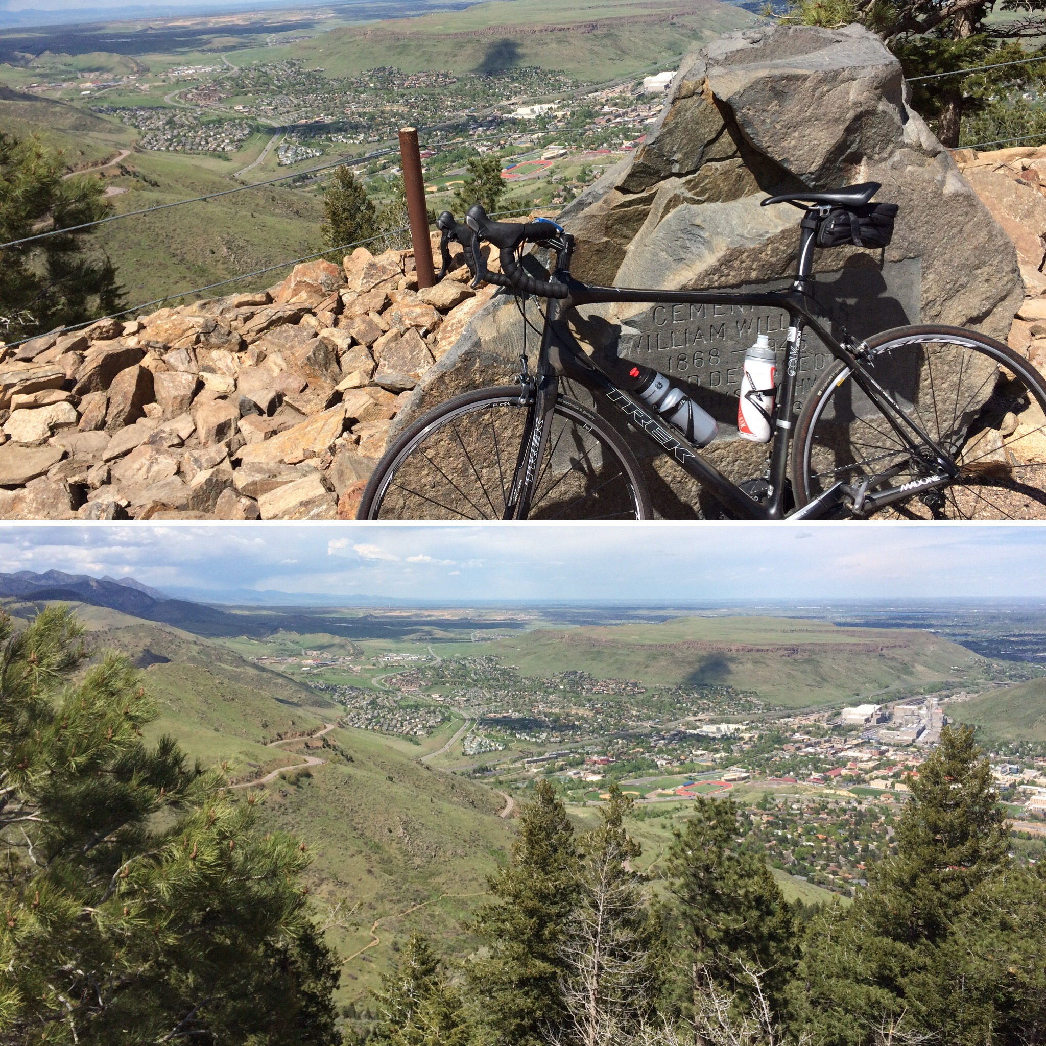 The top of Lookout Mountain provides a great view of Denver. Challenging and fun bike ride up, too.
