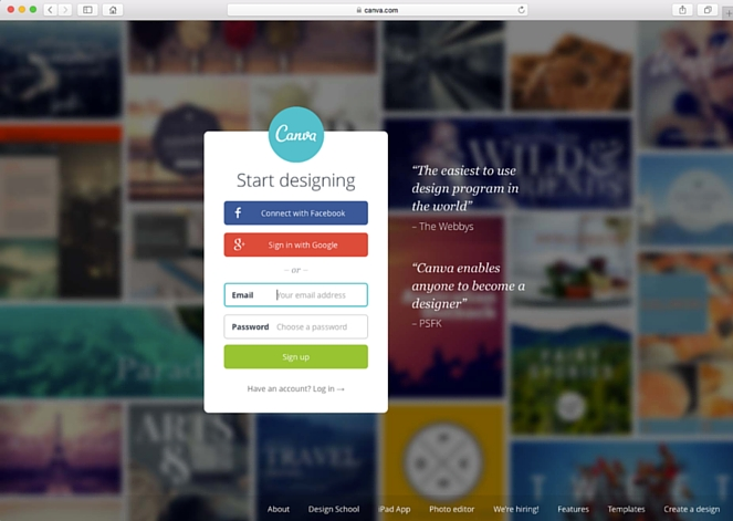 create website images with Canva