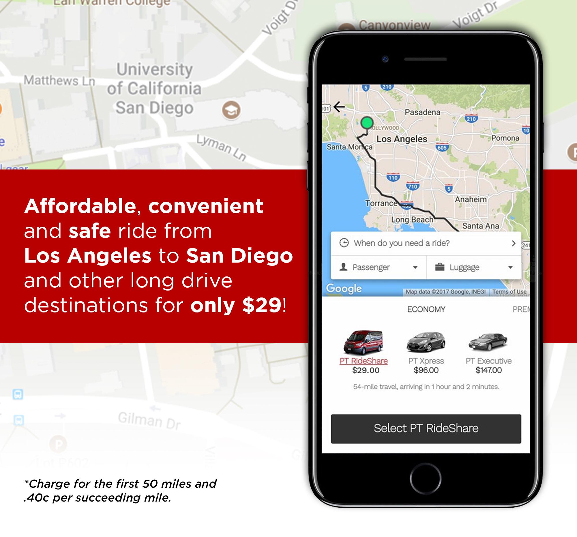 Prime Time Shuttle App on Smart Phone