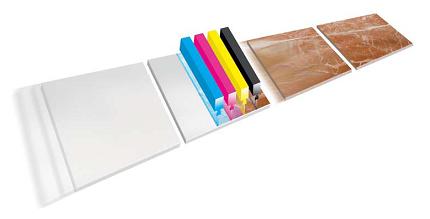CMYK Print heads for an inkjet printer in the tile industry