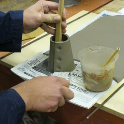 Making a glaze testing cone: Stamping an identification.
