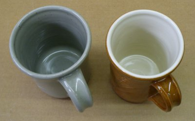 Cone 5 reduction mug (left) and cone 6 oxidation mug (right)