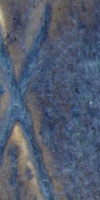 Closeup of original floating blue recipe at cone 6