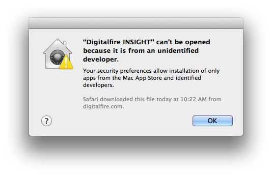 Unidentified developer issue with Digitalfire Insight for OSX
