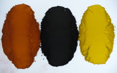 Iron oxide is available in many colors. Here are three.