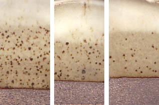 Spodumene glaze with natural iron stone concretion speckle