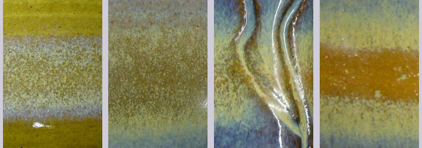 Thin titanium band sprayed over cone 6 glazes demonstrates crystallization