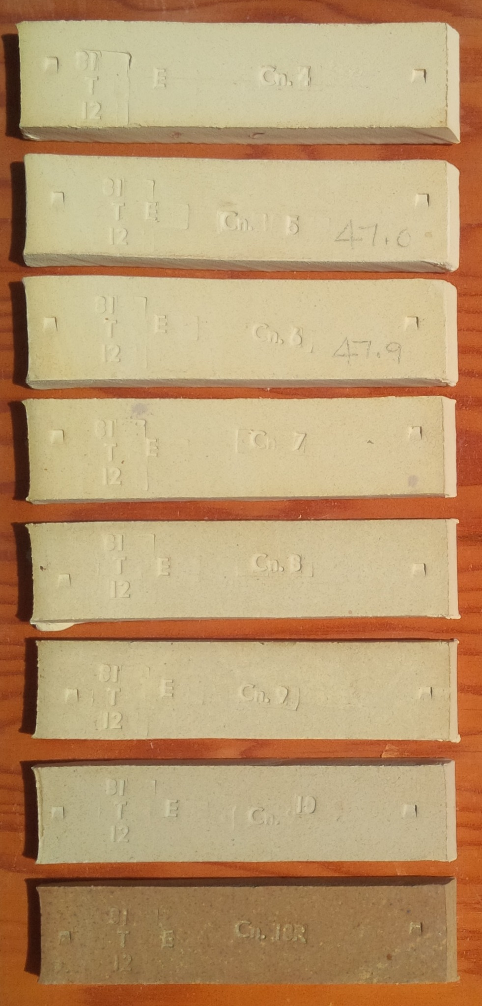 Fired bars of Cedar Heights Bonding clay