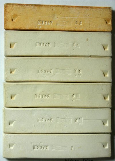 Gleason ball clay fired test bars from cone 7-11 oxidation and cone 10 reduction