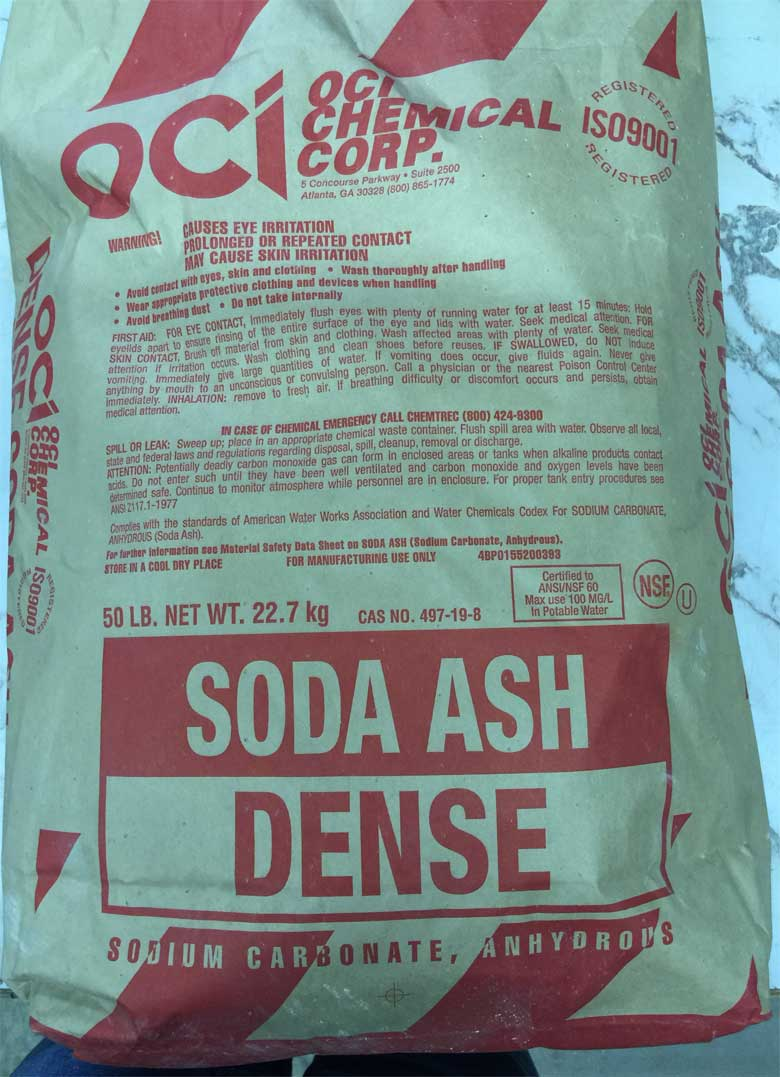 An example of a 50 lb bag of soda ash (or sodium carbonate).