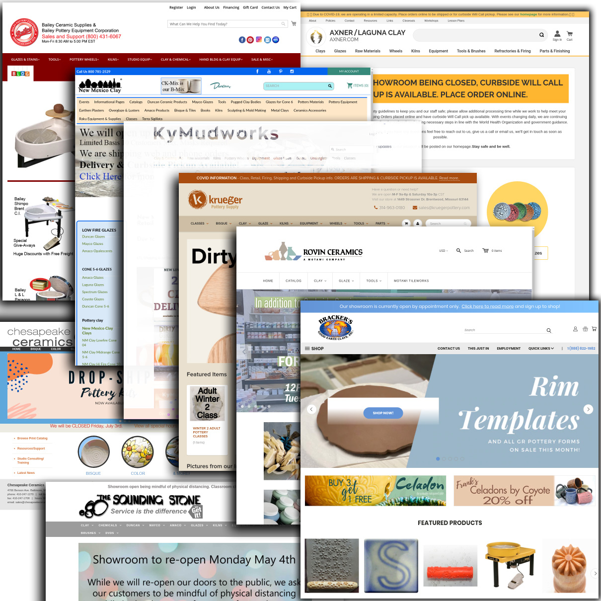 Examples of home pages of various ceramic supplier companies