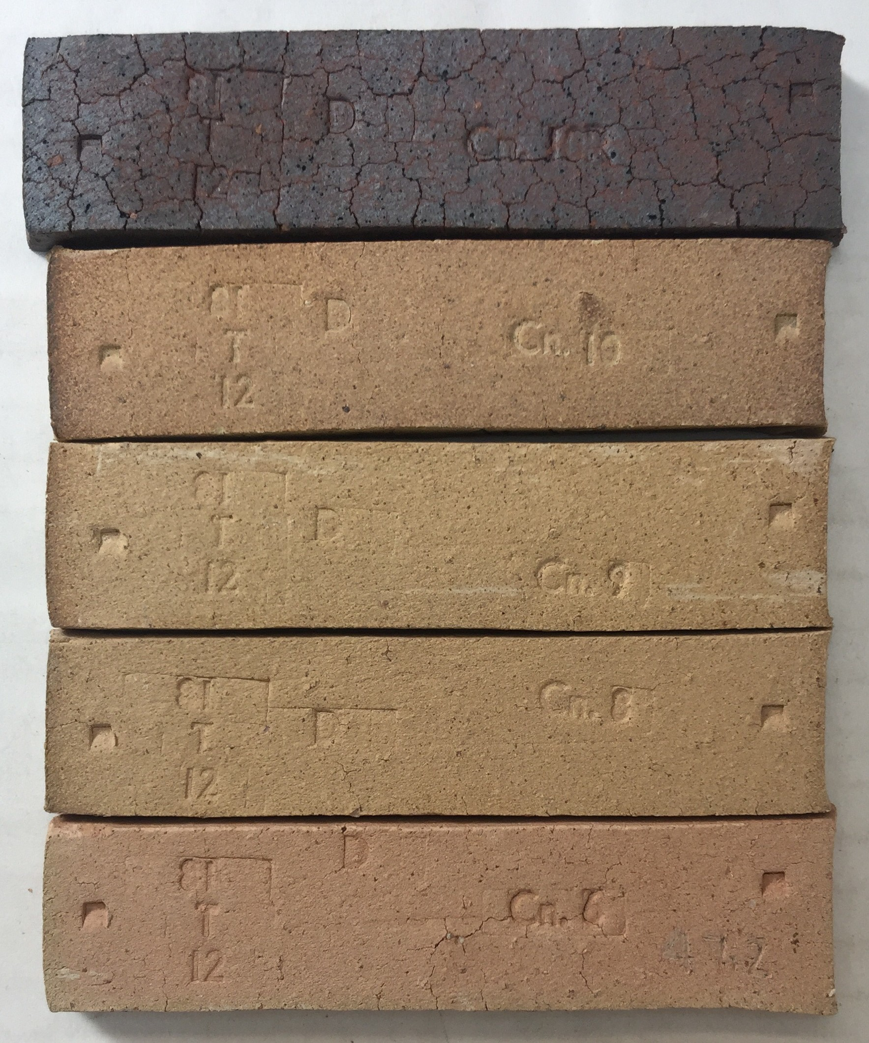 PBX Fireclay fired test bars