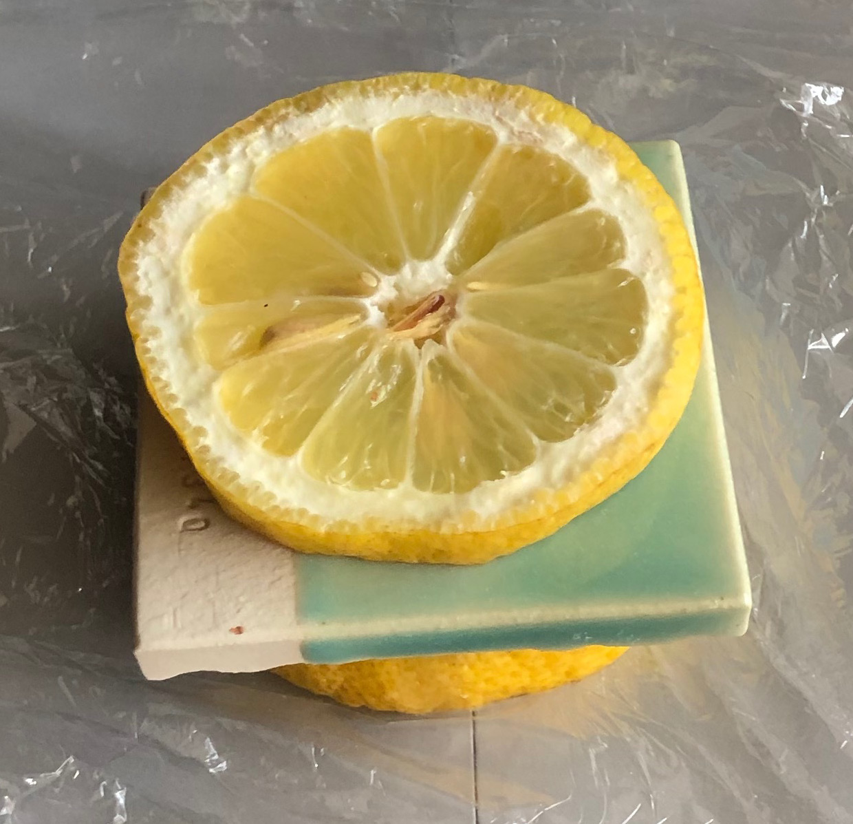 Lemon Leaching Test on a Copper-containing Glaze