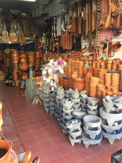 Craft store selling traditional terra cotta ware in Mexico 2020