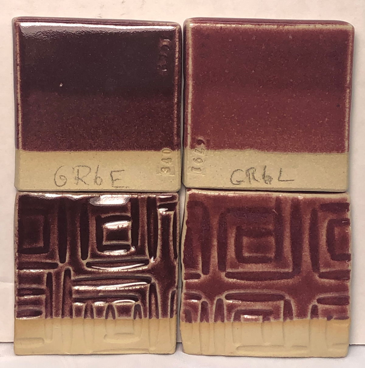GR6-E and GR6-L Ravenscrag Pink glazes side-by-side