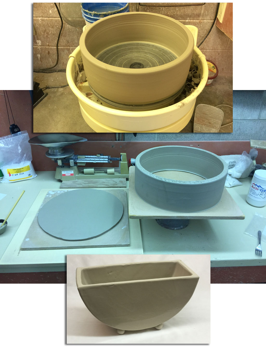 Making a bowl and plate glazing container