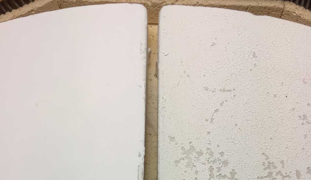 Two kiln shelves, the wash on one is even and perfect, the other is flaking and falling off