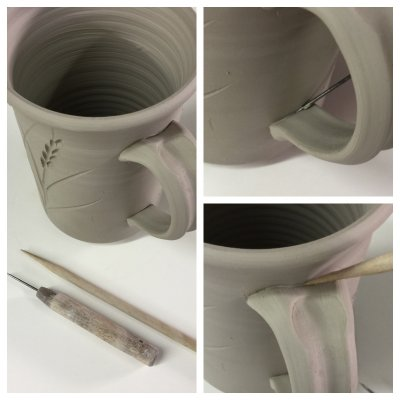 A step to prevent cracking of hand-made mug handles
