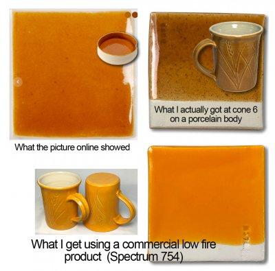 Fired glaze tiles showing an orange promise, what actually came out and a better way