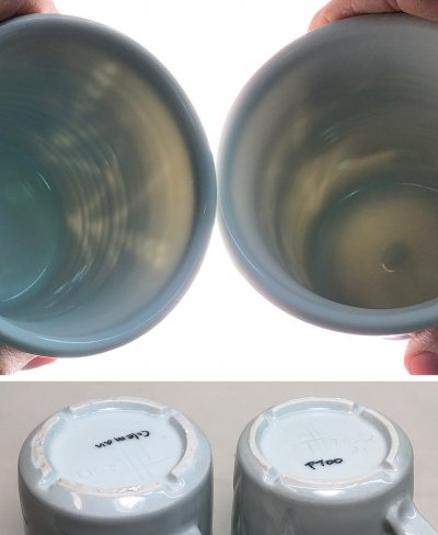 Sunlight compares the translucency of two porcelain mugs