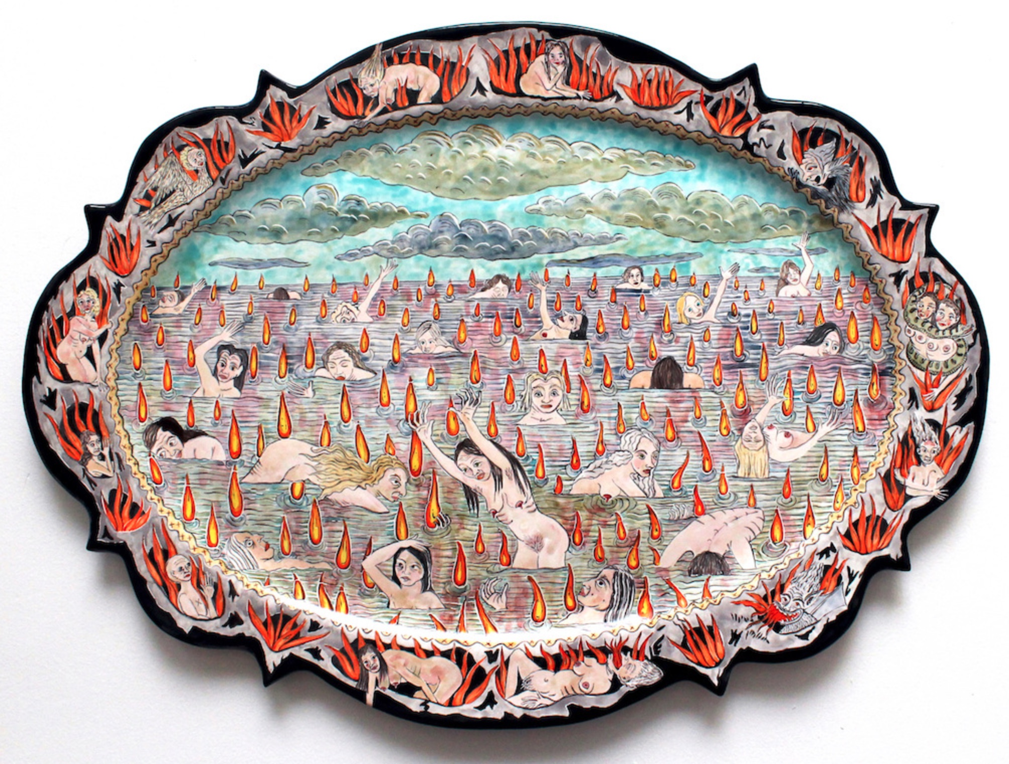Lindsay Montgomery Majolica Plate: Lake of Fire (White Women Elected Trump), 2017