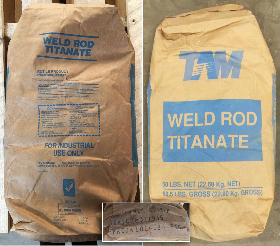 An original container bag of ceramic rutile