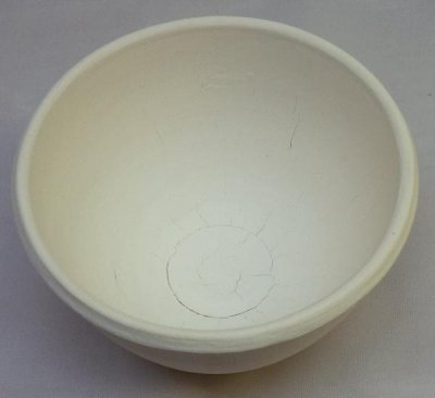 A small bowl thrown from pure kaolin