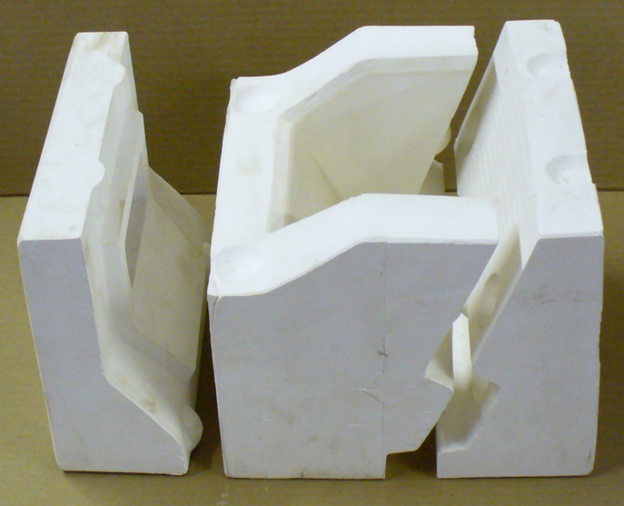 Glaze flow tester mold (three pieces). Piece on the left goes on top.