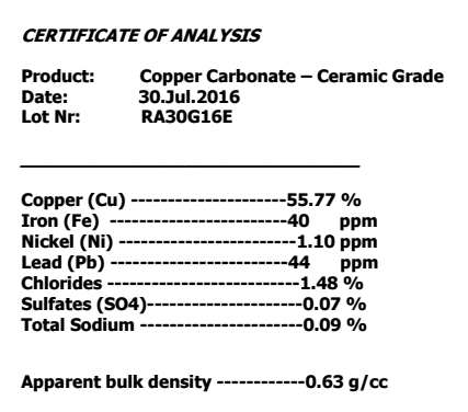 Example of a data sheet for Copper Carbonate