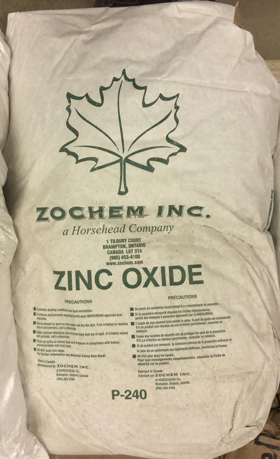 Original container bag of zinc oxide