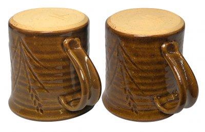 Mug A is a beautiful glossy amber, mug B is covered in blisters