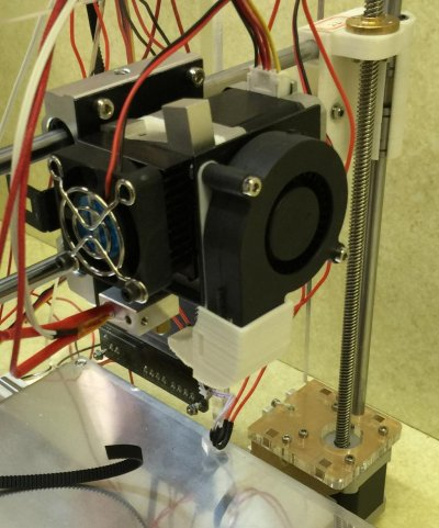 The printhead of a make-it-yourself RepRap 3D printer