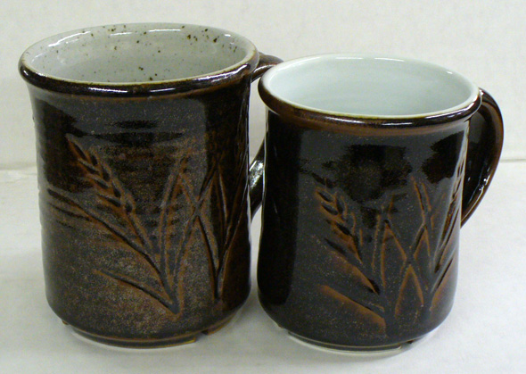 The same Tenmoku on a buff stoneware and a Grolleg porcelain