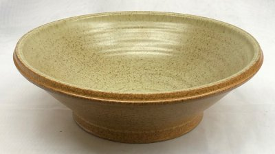 Spray glazed large bowl with two glazes meeting-at-the-rim