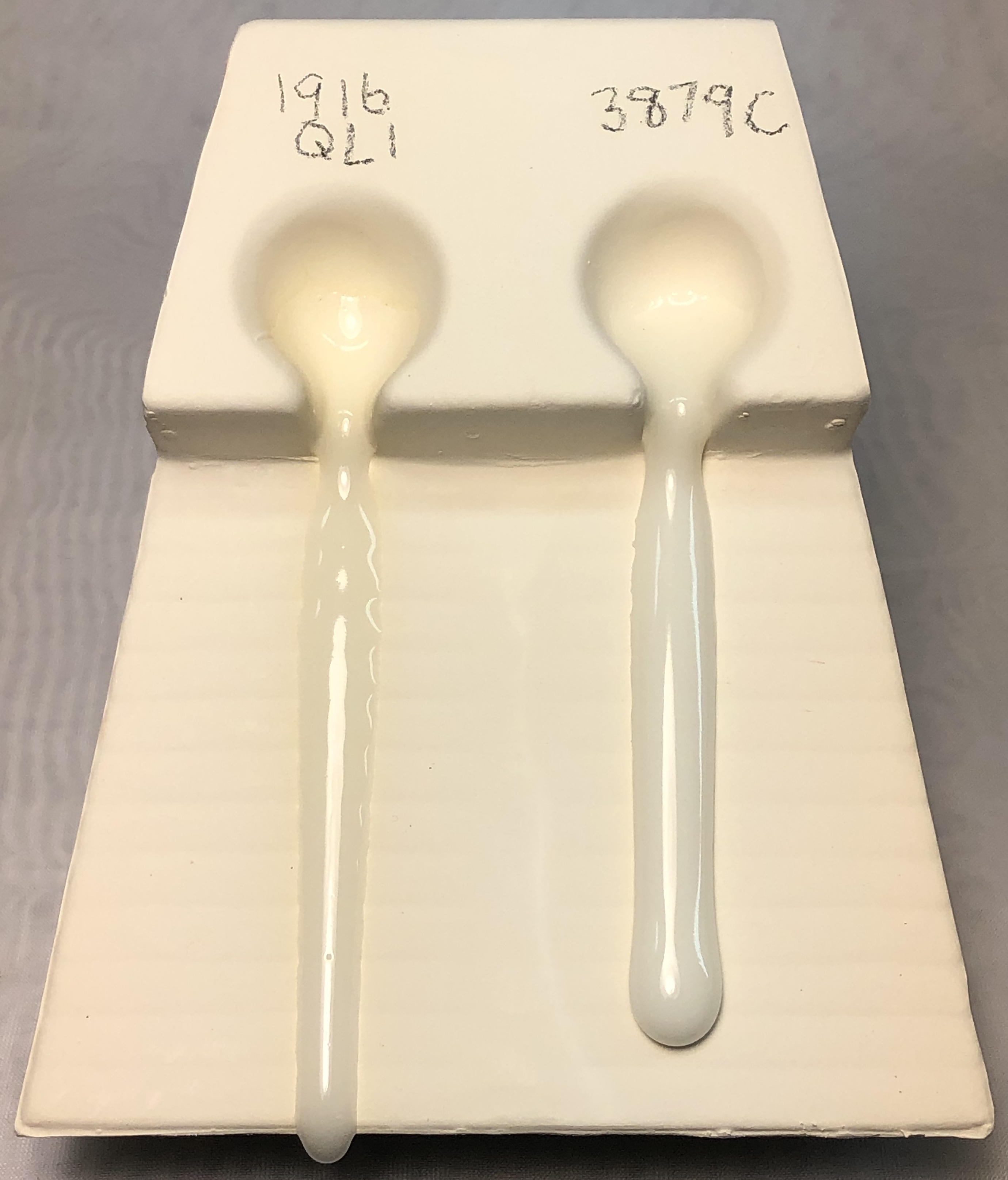 Melt fluidity comparison of two clear glazes