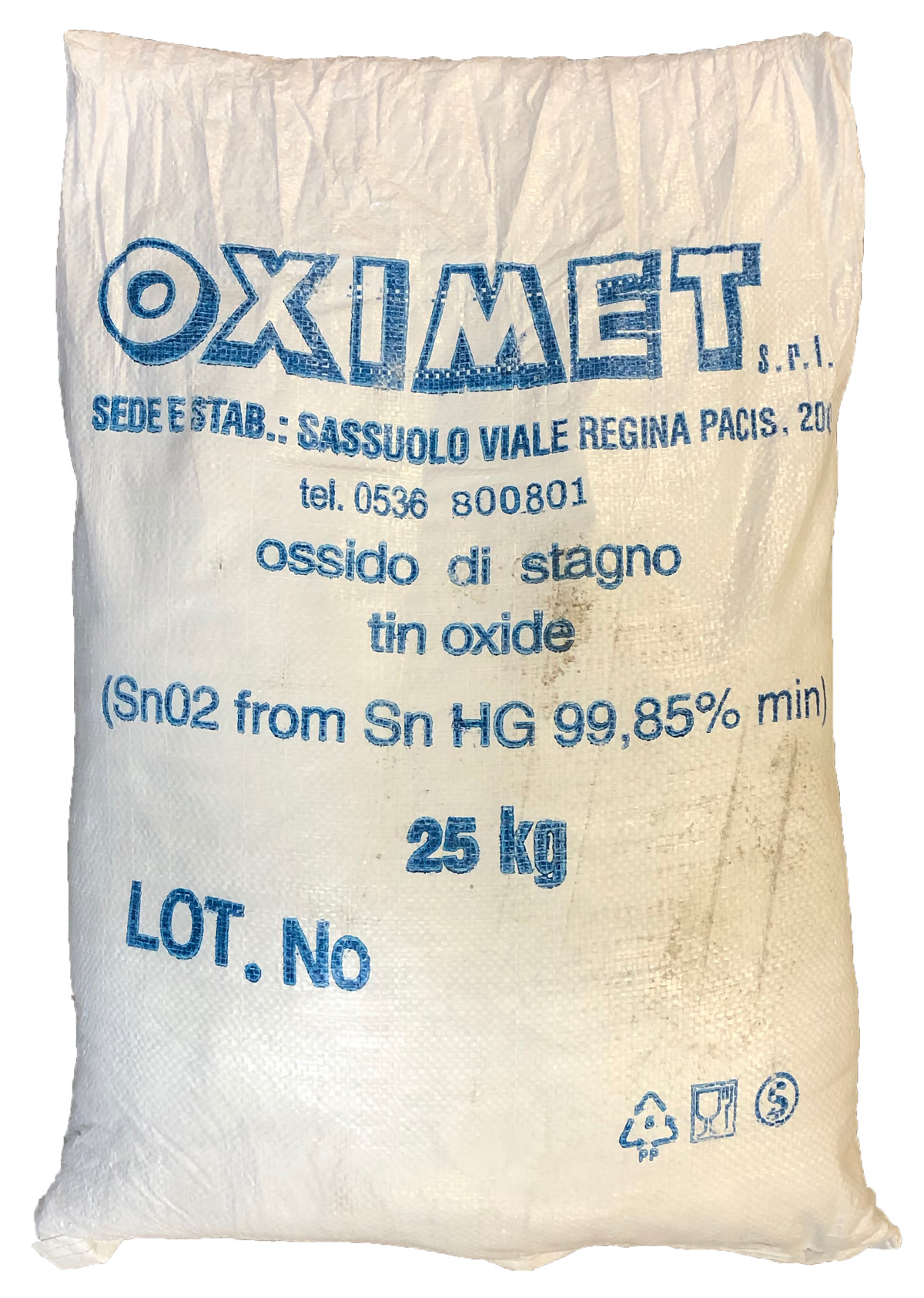 An original container bag of Tin Oxide