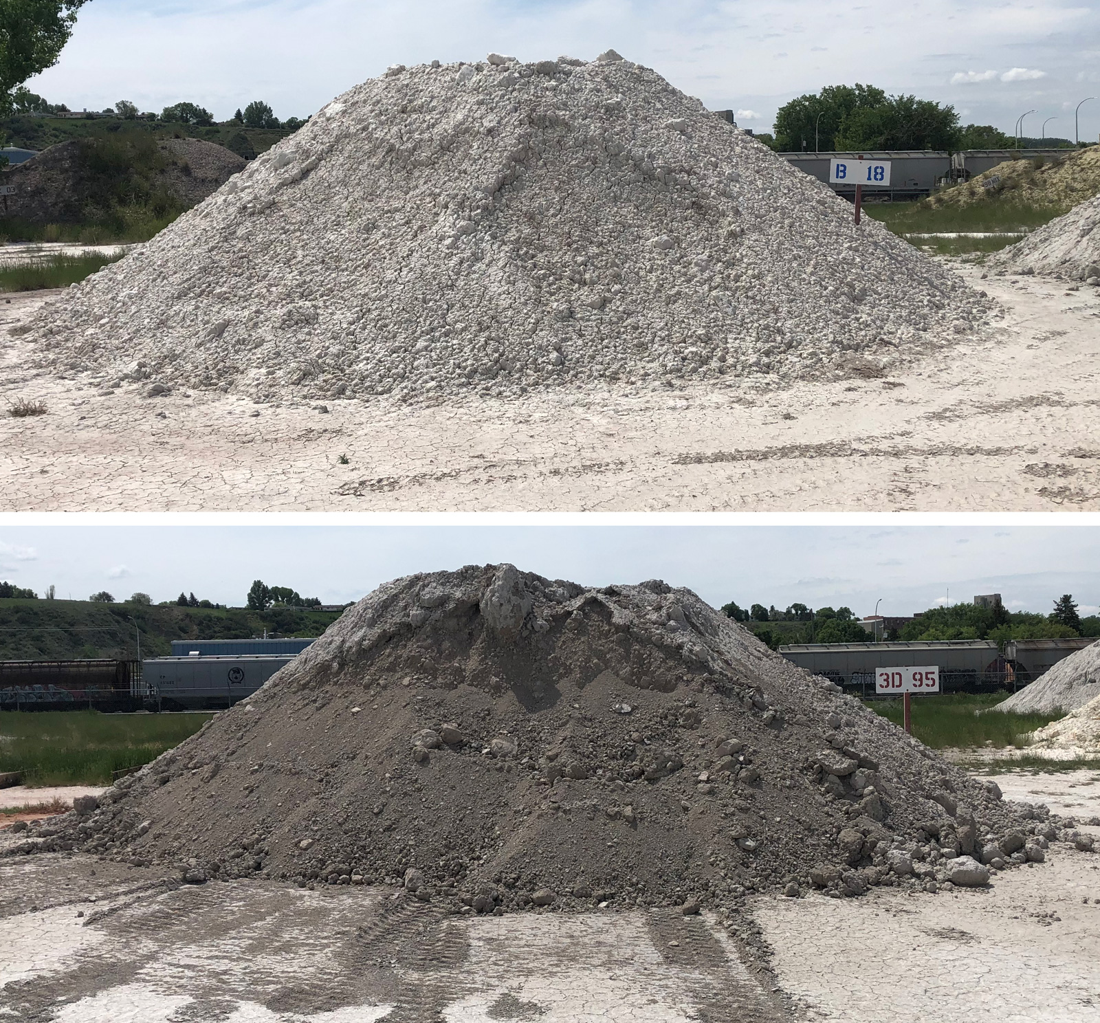 Two piles of raw clay behind the Plainsman Clays factory
