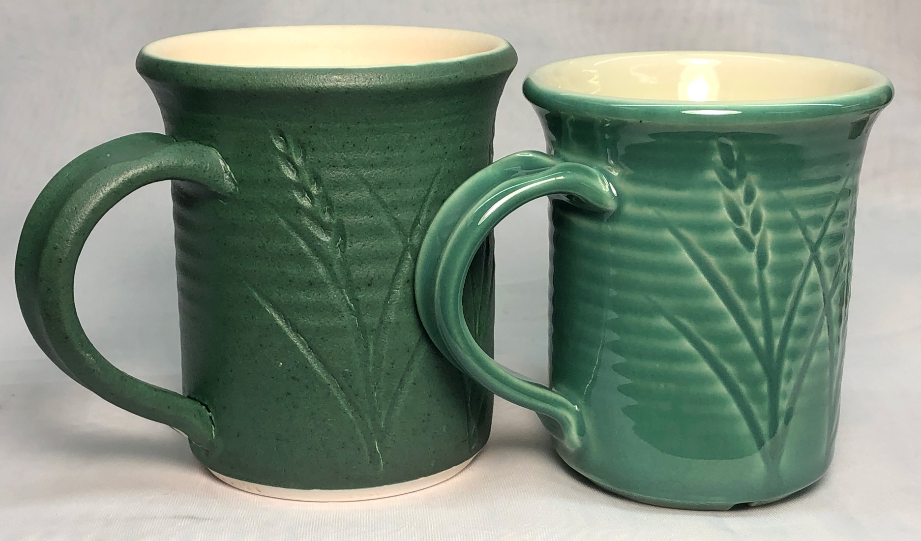 The same glaze fired at 1850F and 2200F