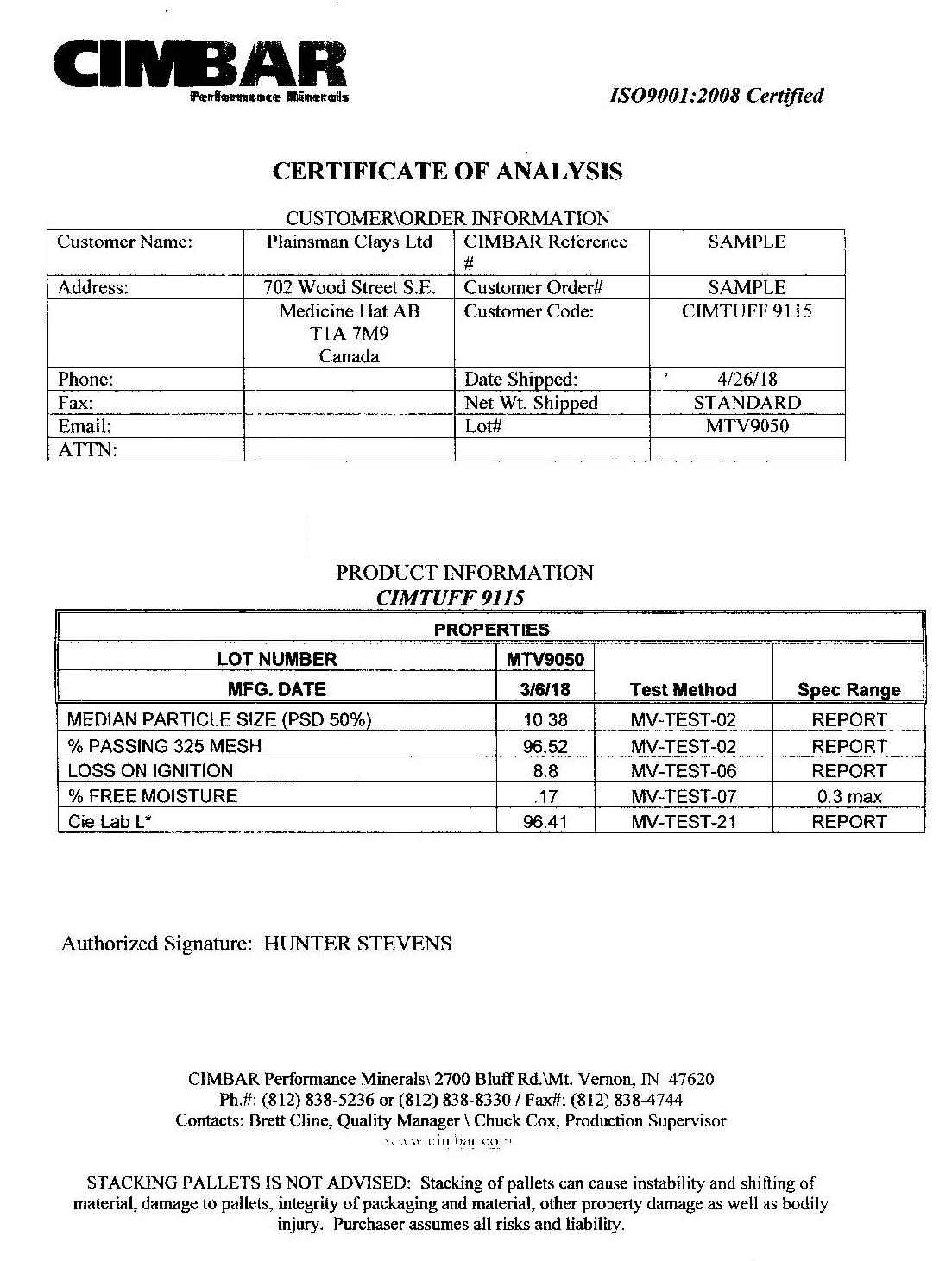Cimbar Cimtuff 9115 Certificate of Analysis Report