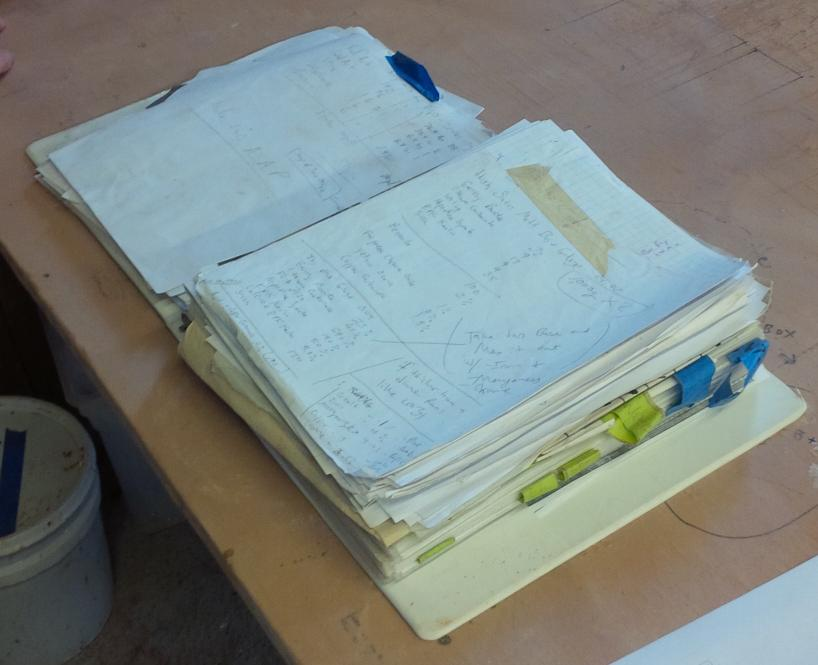A messy binder that someone uses to store their glaze recipes