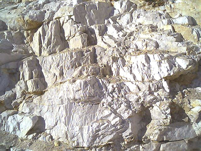 Closeup of feldspar deposit in the MGK Minerals quarry in India